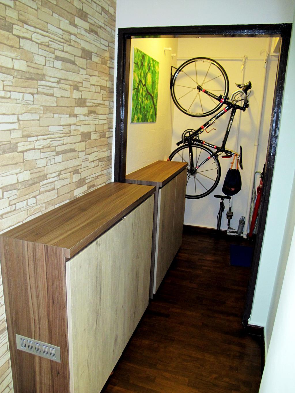 Transitional, HDB, Living Room, Marine Terrace, Interior Designer, Colourbox Interior, Bicycle, Bike, Transportation, Vehicle