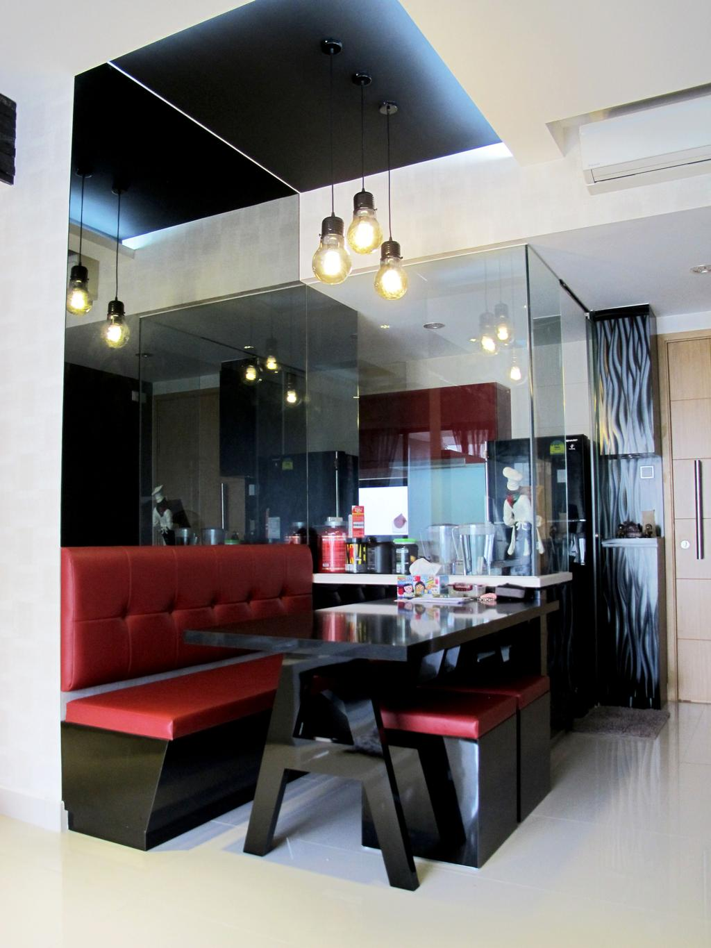 Contemporary, Condo, Dining Room, The Mezzo, Interior Designer, Colourbox Interior, Couch, Furniture, Hardwood, Stained Wood, Wood, Dining Table, Table, Cafe, Restaurant