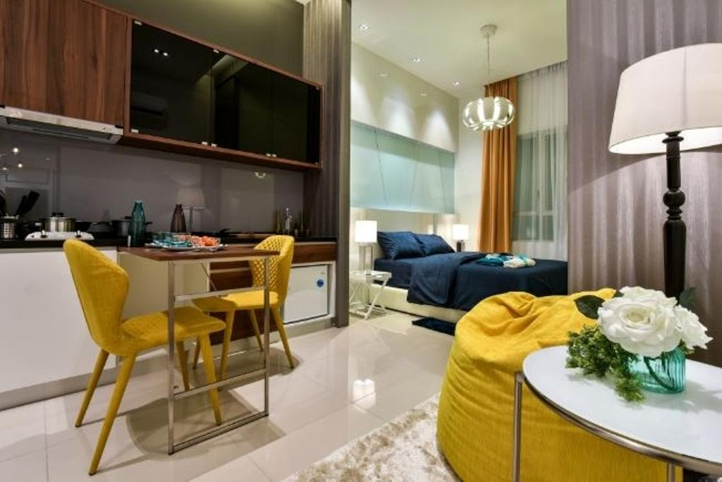 Condo, Bedroom, Ceria Residence (Type B), Interior Designer, Nice Style Refurbishment, Chair, Furniture, Lamp, Table Lamp, Indoors, Interior Design, Room, Dining Table, Table