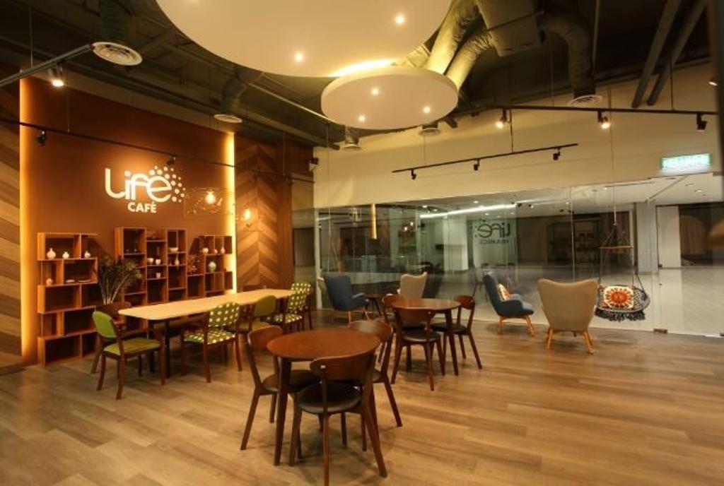 Life Yoga YCC, Commercial, Interior Designer, Nice Style Refurbishment, Dining Room, Indoors, Interior Design, Room, Dining Table, Furniture, Table, Library, Cafe, Restaurant