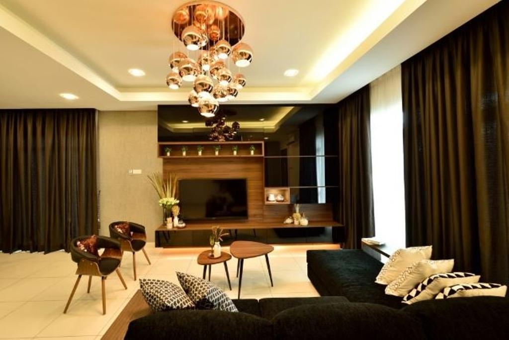 Modern, Condo, Living Room, Serene Residence Rawang RT2, Interior Designer, Nice Style Refurbishment, Couch, Furniture, Curtain, Home Decor, Chandelier, Lamp, Indoors, Room