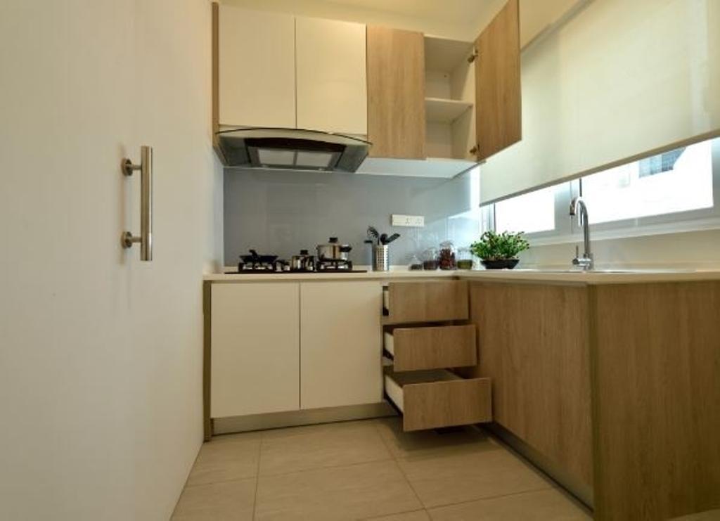Modern, Condo, Kitchen, Serene Residence Rawang RT2, Interior Designer, Nice Style Refurbishment, Furniture, Sideboard, Indoors, Interior Design, Room