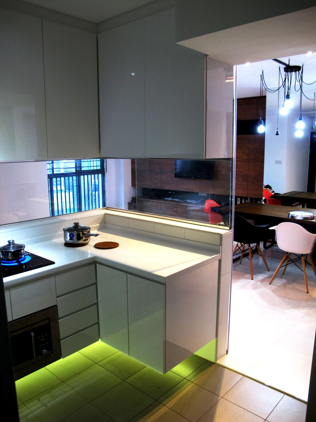 Contemporary, HDB, Kitchen, The Pinnacle@Duxton, Interior Designer, Colourbox Interior, Chair, Furniture, Indoors, Interior Design, Room, Sink, Grand Piano, Leisure Activities, Music, Musical Instrument, Piano, Dining Table, Table, Lighting