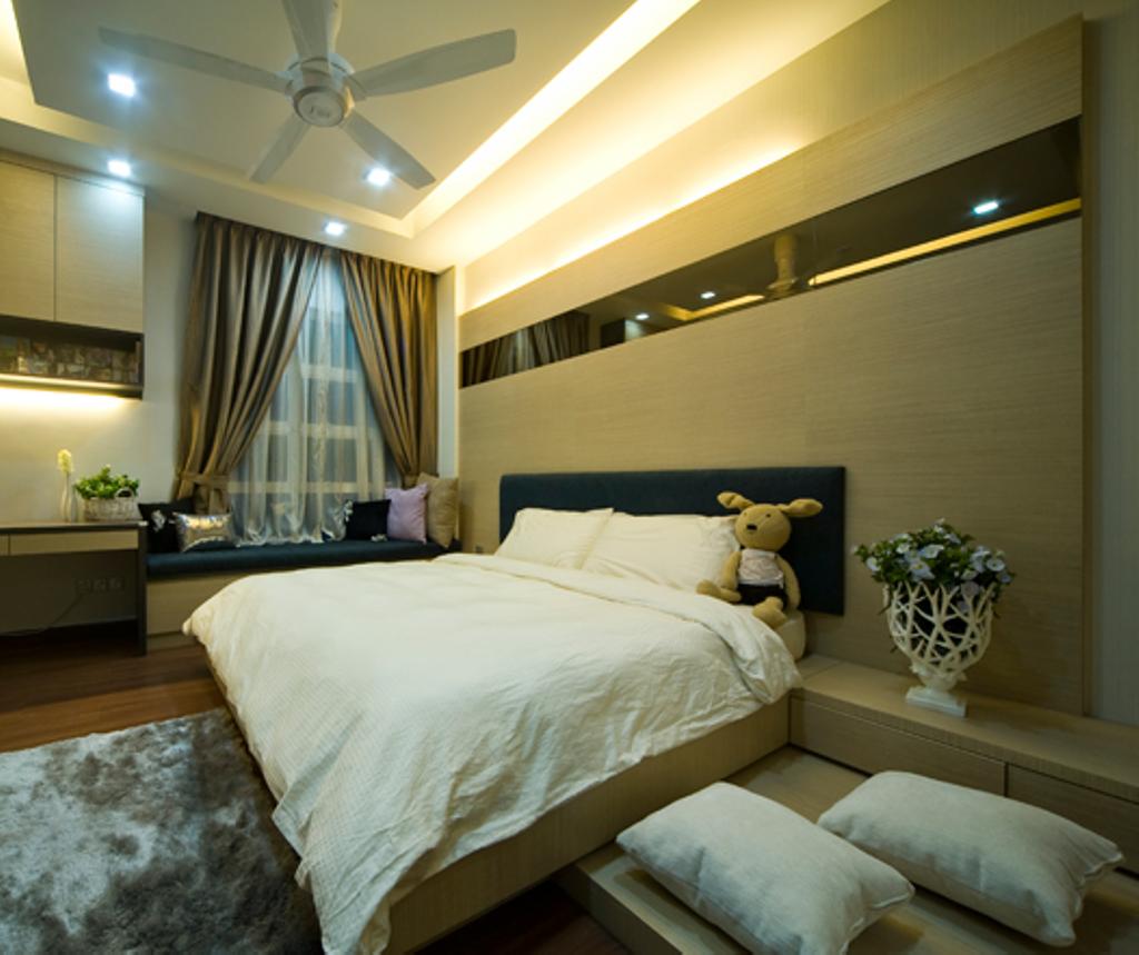 Modern, Landed, Bedroom, Loke House Kajang, Interior Designer, Turn Design Interior, Contemporary, Indoors, Room, Interior Design, Curtain, Home Decor