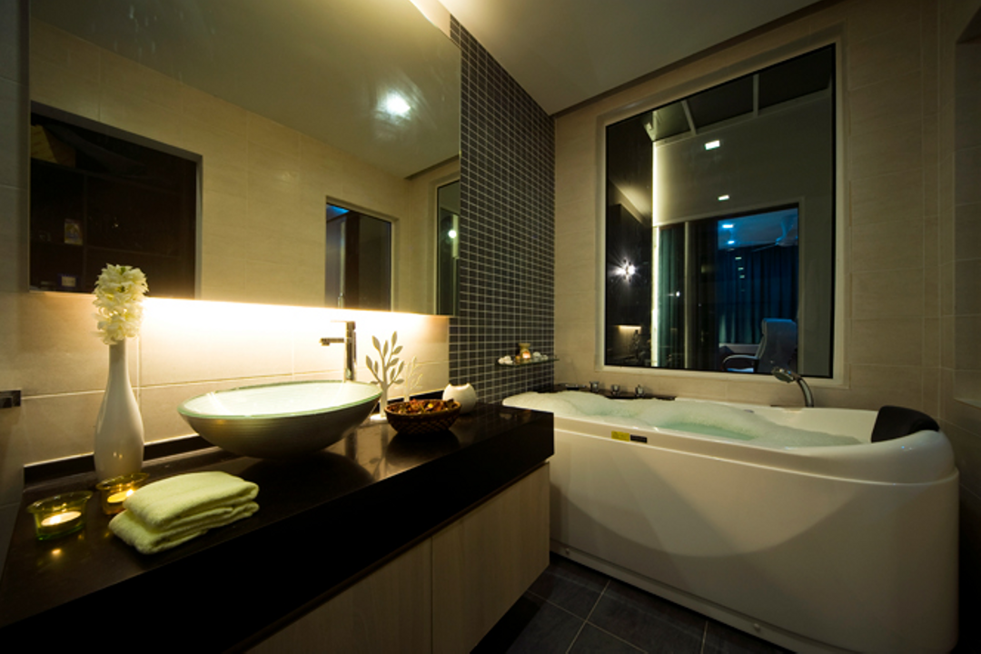 Loke House Kajang, Turn Design Interior, Modern, Contemporary, Bathroom, Landed, Jacuzzi, Tub, Indoors, Interior Design, Room