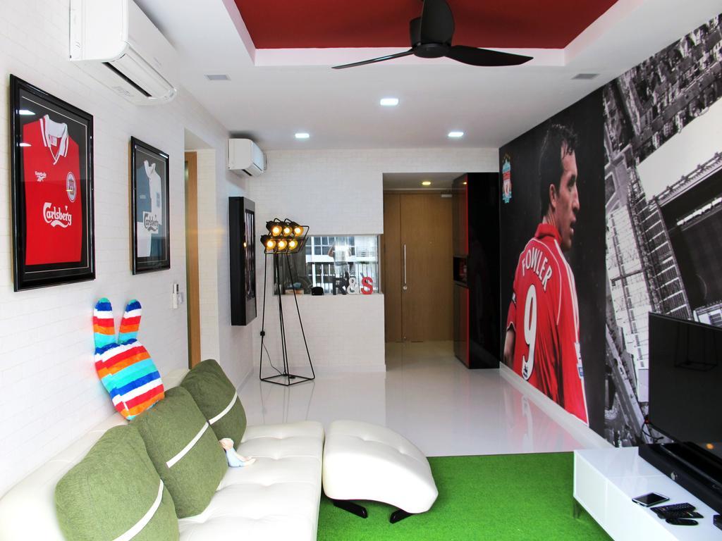 Eclectic, Condo, Living Room, Austville Residences, Interior Designer, Colourbox Interior, Soccer, Soccer Theme, Red, Sports, Thematic, White Sofa, Sofa