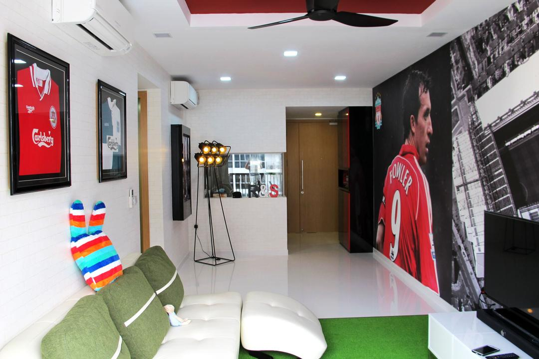 Austville Residences, Colourbox Interior, Eclectic, Living Room, Condo, Soccer, Soccer Theme, Red, Sports, Thematic, White Sofa, Sofa