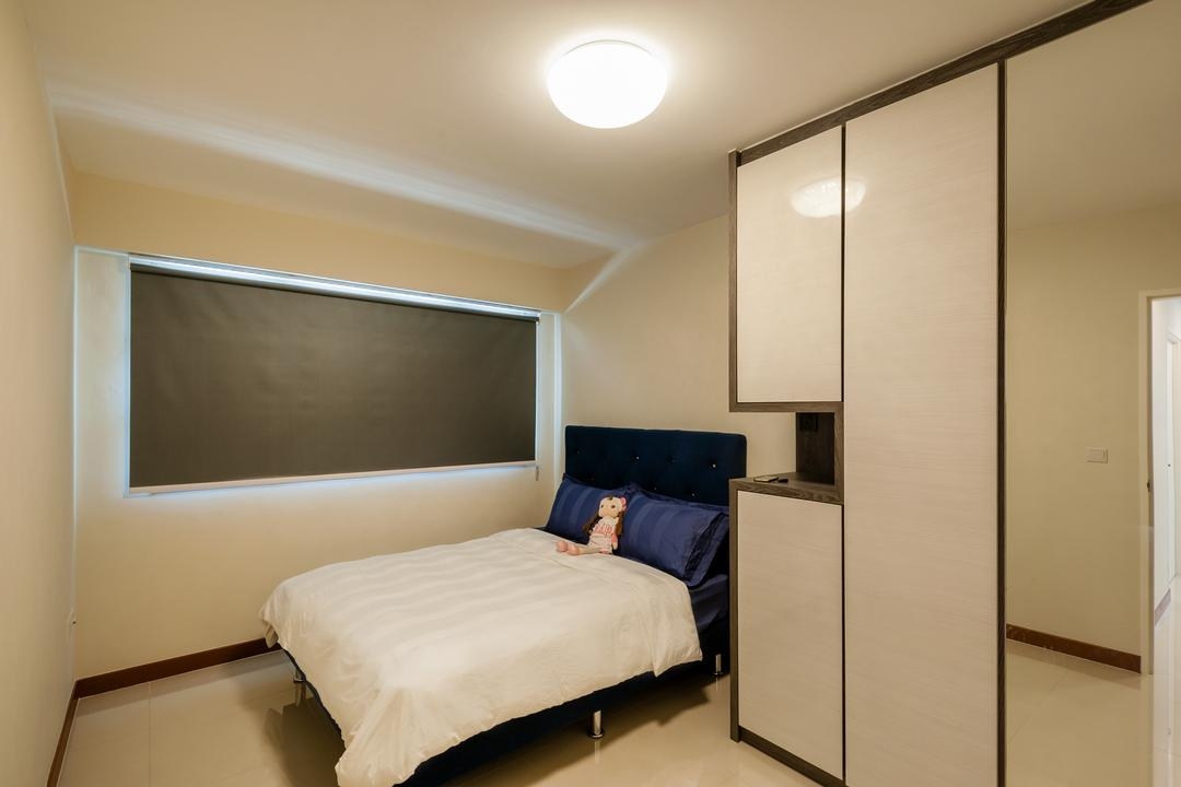 MacPherson Residency, Le Interi, Modern, Bedroom, HDB, King Size Bed, White Wardrobe, Ceiling Lights, Rol Down Curtain, Wooden Floor, Modern Contemporary Bedroom, Bed, Furniture