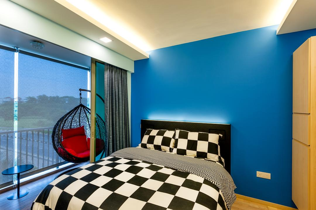 Ripple Bay, Le Interi, Contemporary, Bedroom, Condo, King Size Bed, Blue Wall, Chequered Bed, Sling Curtain, Recessed Lights, Hidden Interior Lighting, Wooden Wardrobe, Wooden Floor, Chair, Furniture, Indoors, Interior Design, Room, Bed