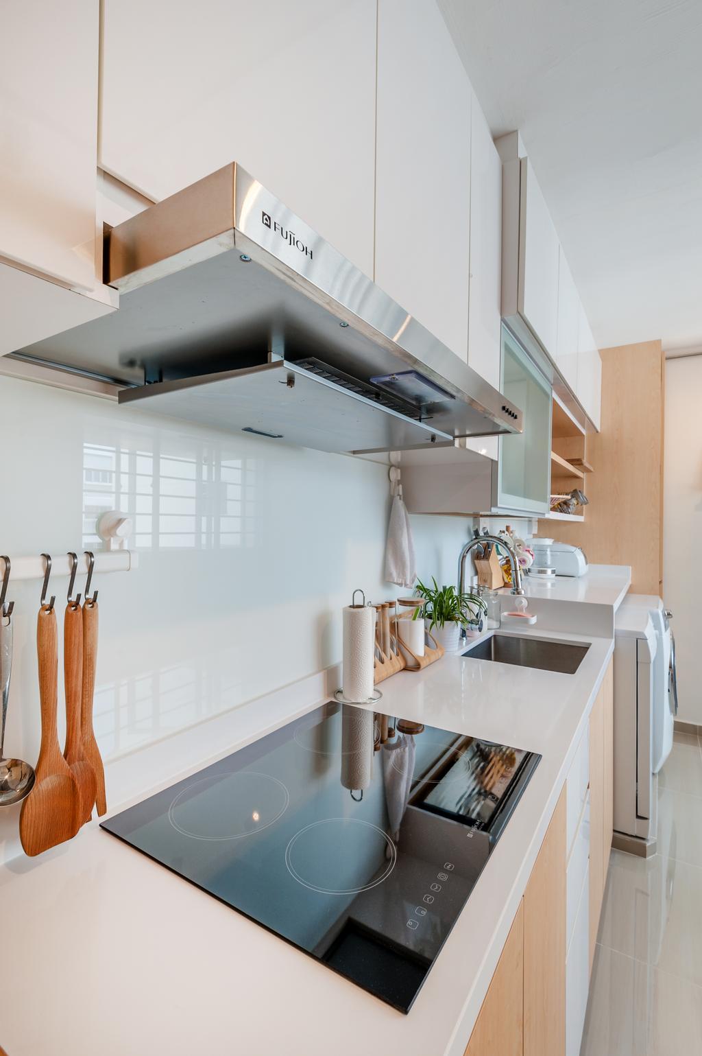 Scandinavian, HDB, Kitchen, Khatib Vale, Interior Designer, Le Interi, Sink, Flora, Jar, Plant, Potted Plant, Pottery, Vase