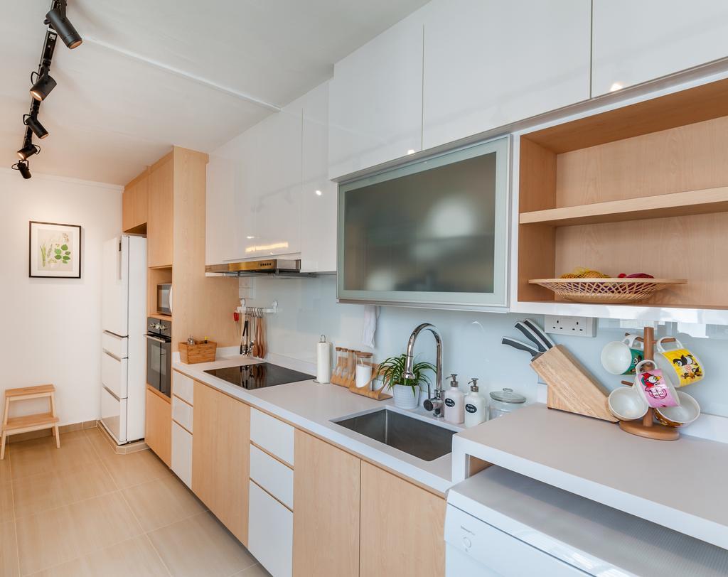 Scandinavian, HDB, Kitchen, Khatib Vale, Interior Designer, Le Interi, Sink, Indoors, Interior Design, Room