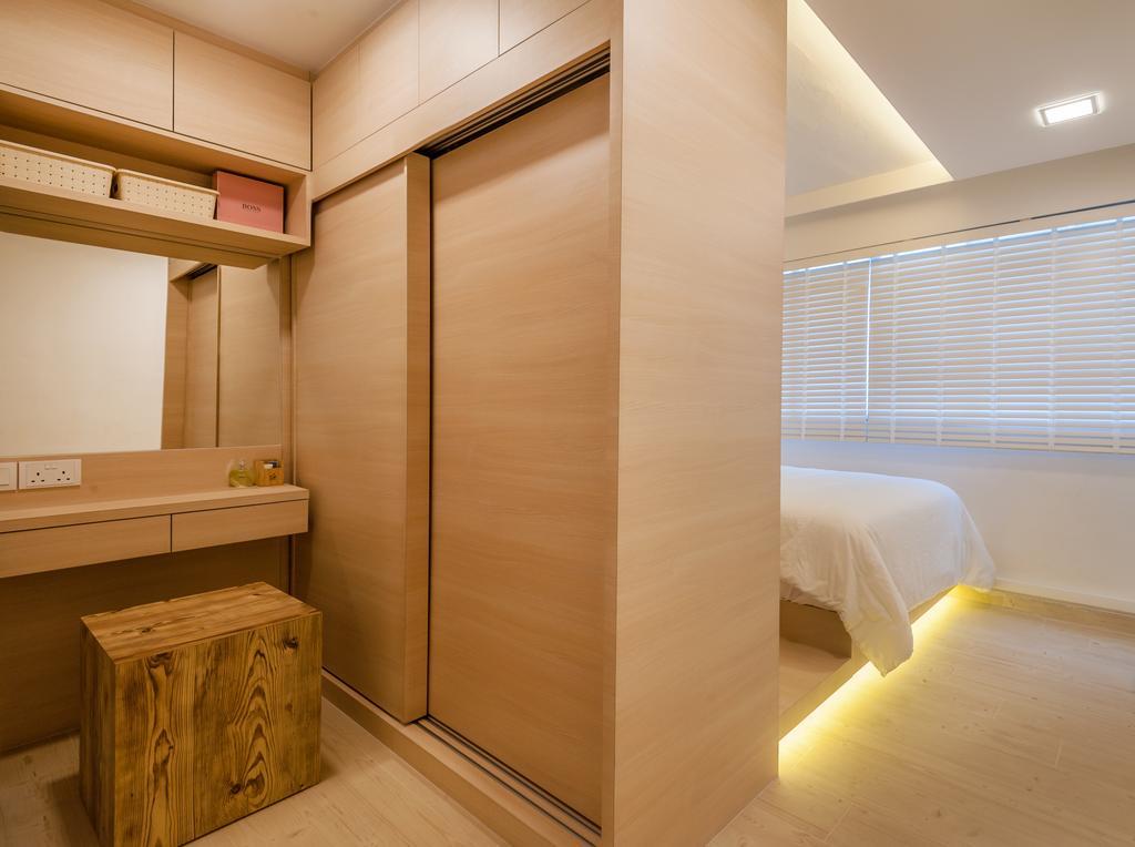 Scandinavian, HDB, Bedroom, Khatib Vale, Interior Designer, Le Interi, Box, Crate, Indoors, Interior Design, Door, Sliding Door
