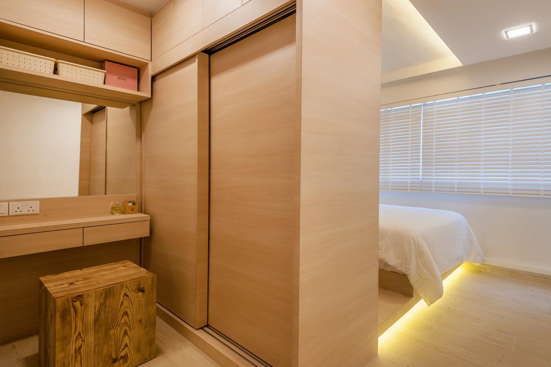 Khatib Vale, Le Interi, Scandinavian, Bedroom, HDB, Box, Crate, Indoors, Interior Design, Door, Sliding Door