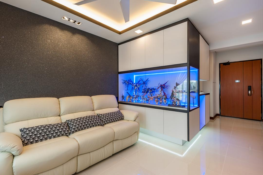 Oleander Breeze, Le Interi, Eclectic, Living Room, HDB, Modern Contemporary Living Room, Wooden Door, Coffered Ceiling, Hidden Interior Lighting, Recessed Lights, Ceiling Fan, White Sofa, Spacious, Fish Tank, Couch, Furniture, Indoors, Interior Design