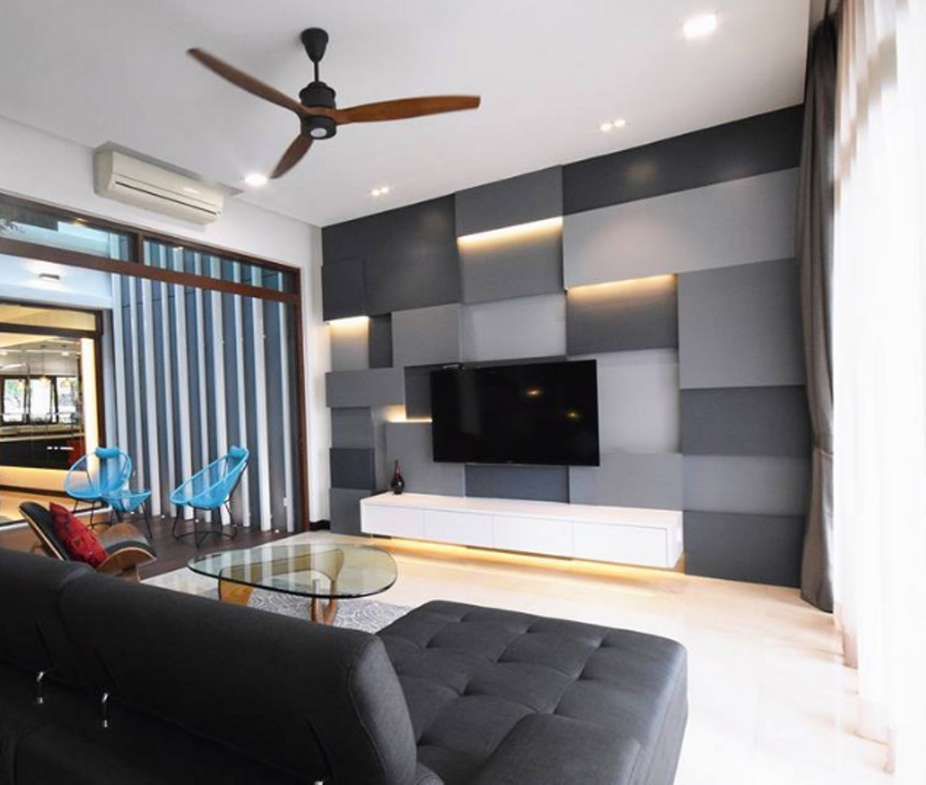 Modern, Landed, Living Room, Semi D @ Kiara View, Interior Designer, The Grid Studio, Contemporary, Couch, Furniture, Electronics, Entertainment Center, Home Theater, Indoors, Room