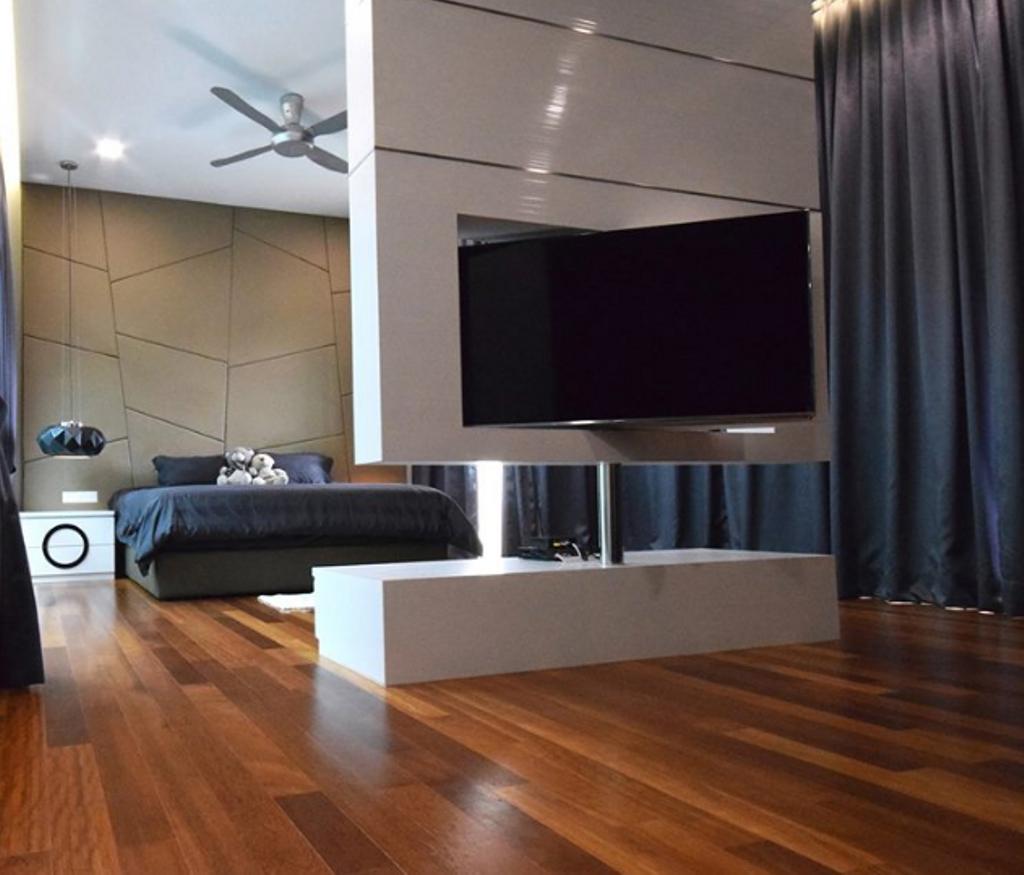 Modern, Landed, Bedroom, Semi D @ Kiara View, Interior Designer, The Grid Studio, Contemporary, Flooring
