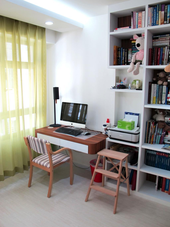 Minimalistic, HDB, Study, Anchorvale Harvest, Interior Designer, Colourbox Interior, Book, Bookcase, Furniture, Chair
