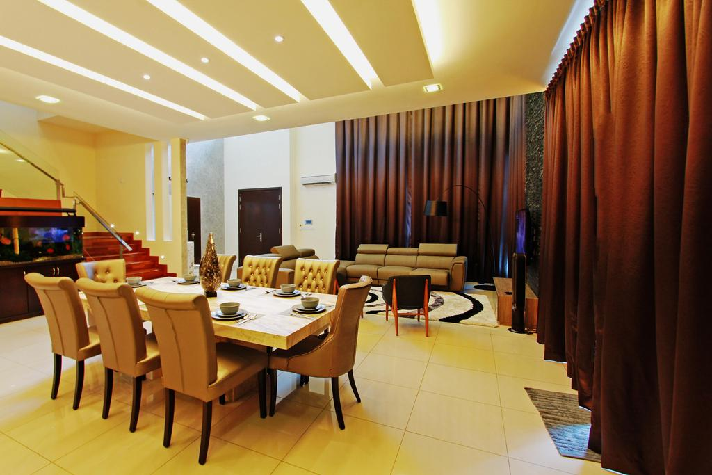 Modern, Landed, Dining Room, Sean Residence, Interior Designer, Zyon Studio Sdn. Bhd., Couch, Furniture, Curtain, Home Decor, Dining Table, Table, Conference Room, Indoors, Meeting Room, Room, Chair, Interior Design