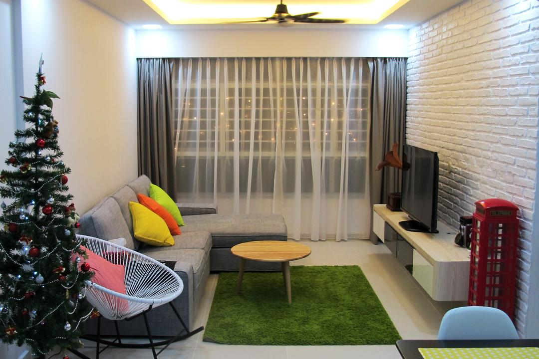 Punggol Way, Colourbox Interior, Scandinavian, Living Room, HDB, Abies, Conifer, Fir, Flora, Plant, Tree, Chair, Furniture, Dining Room, Indoors, Interior Design, Room
