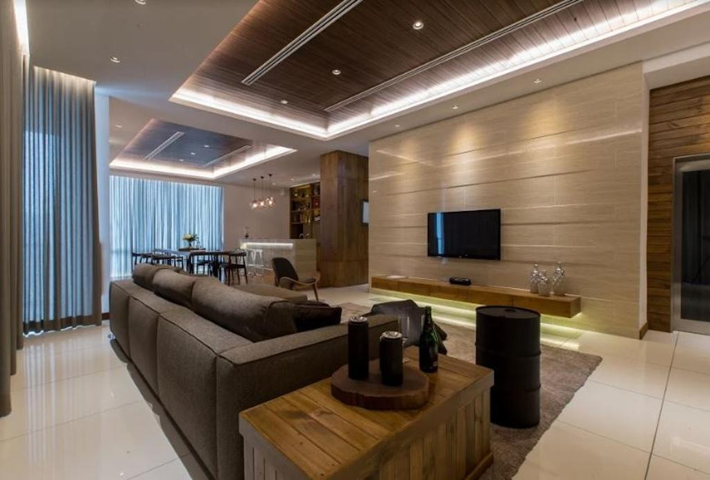 Modern, Landed, Living Room, Setia Pearl Villa, Interior Designer, Nevermore Group, Couch, Furniture, Electronics, Entertainment Center, Home Theater, Indoors, Room