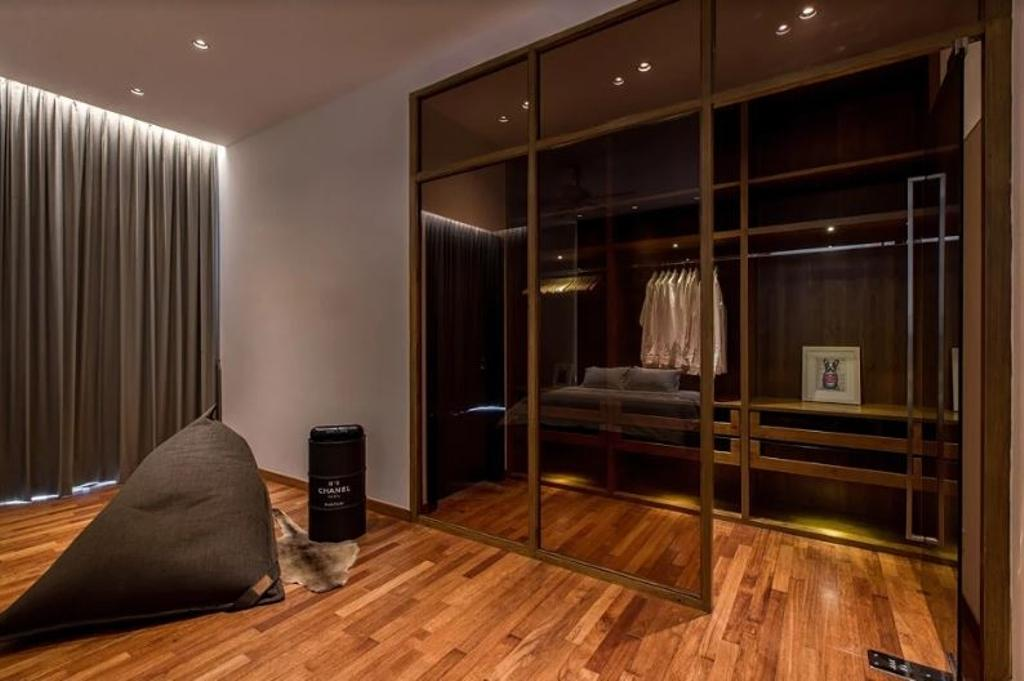 Modern, Landed, Bedroom, Setia Pearl Villa, Interior Designer, Nevermore Group, Flooring, Apartment, Building, Housing, Indoors, Loft, Closet, Furniture, Wardrobe, Interior Design, Room
