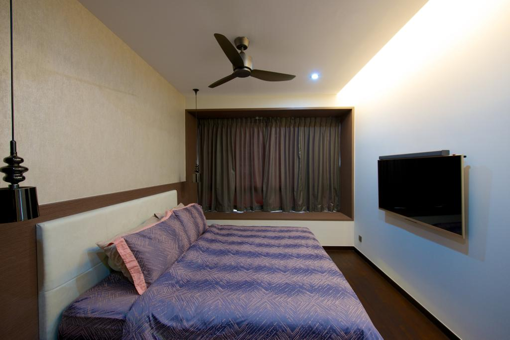 Contemporary, Condo, Bedroom, Flamingo Valley (Block 478), Interior Designer, Dyel Design, Curtain, Purple, Flatscreen, Tv, Indoors, Interior Design, Room