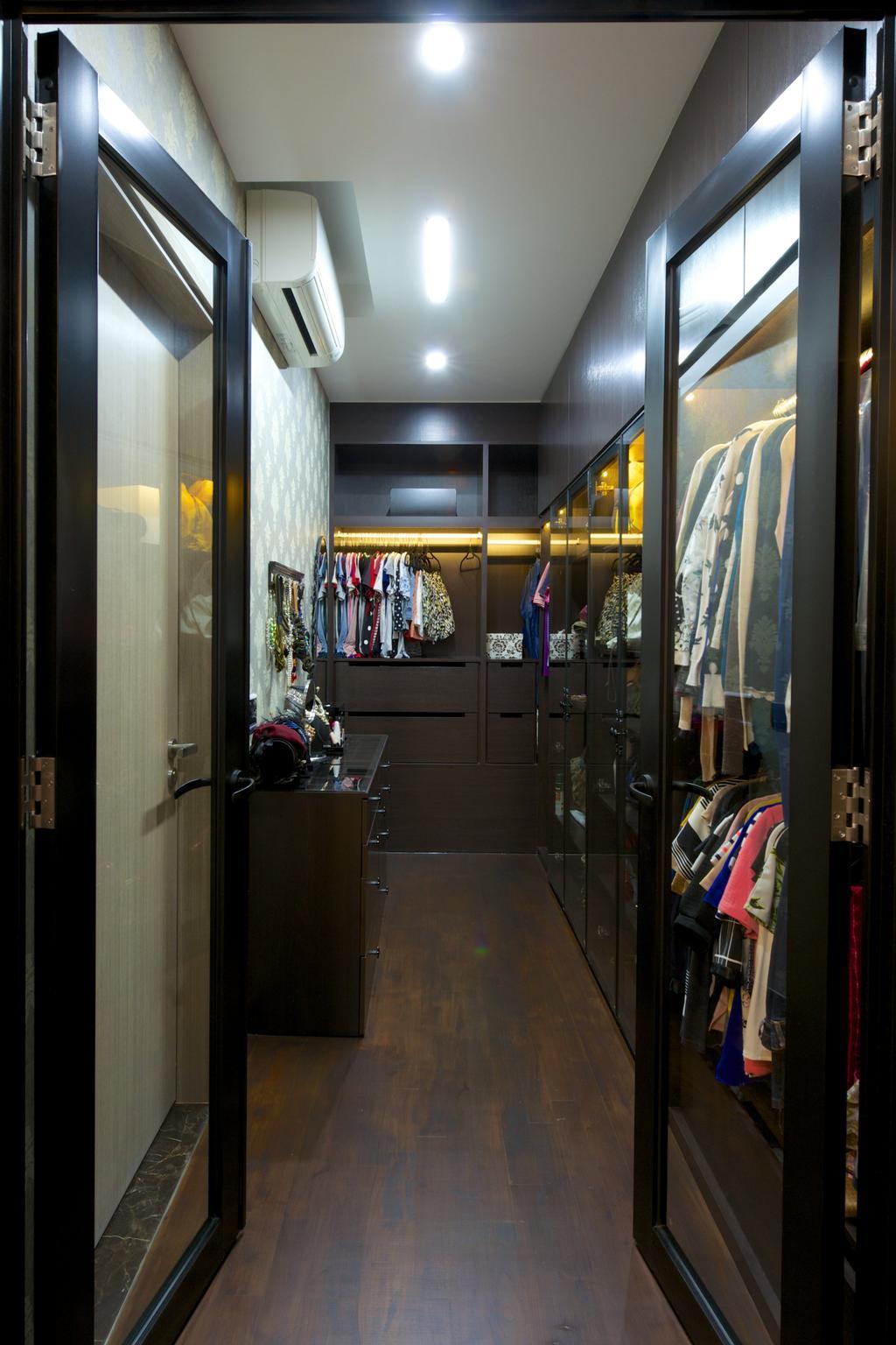 Contemporary, Condo, Bedroom, Flamingo Valley (Block 478), Interior Designer, Dyel Design, Wardrobe, See Through Door, Open Wardrobe, Wood