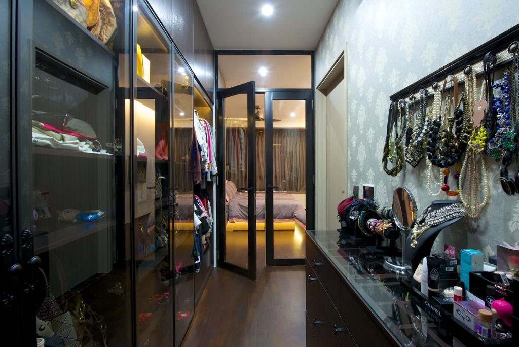 Contemporary, Condo, Bedroom, Flamingo Valley (Block 478), Interior Designer, Dyel Design, Wardobe, Black Frame See Through Door, Accessories Hanger, Accessories Shelf, Shop