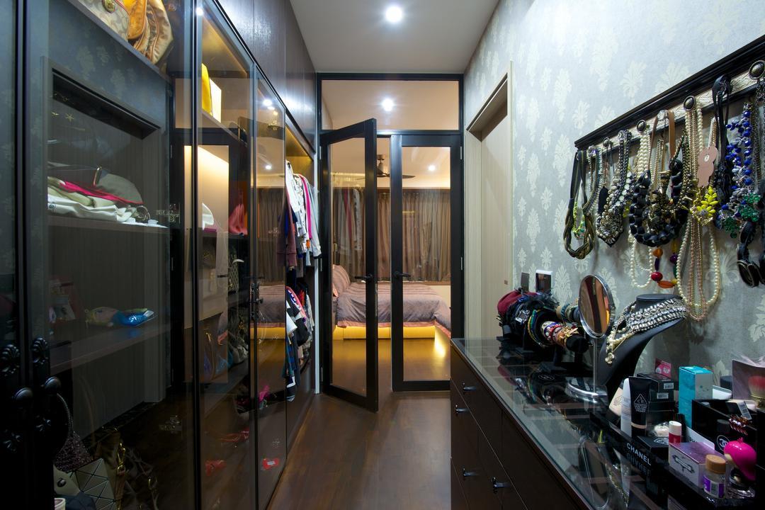 Flamingo Valley (Block 478), Dyel Design, Contemporary, Bedroom, Condo, Wardobe, Black Frame See Through Door, Accessories Hanger, Accessories Shelf, Shop