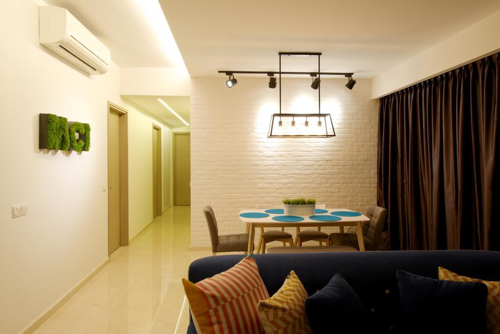 Contemporary, Condo, Living Room, Flamingo Valley (Block 478), Interior Designer, Dyel Design, Pendant Lighting, Track Lights, Curtains, Couch, Furniture, Chair, Indoors, Interior Design