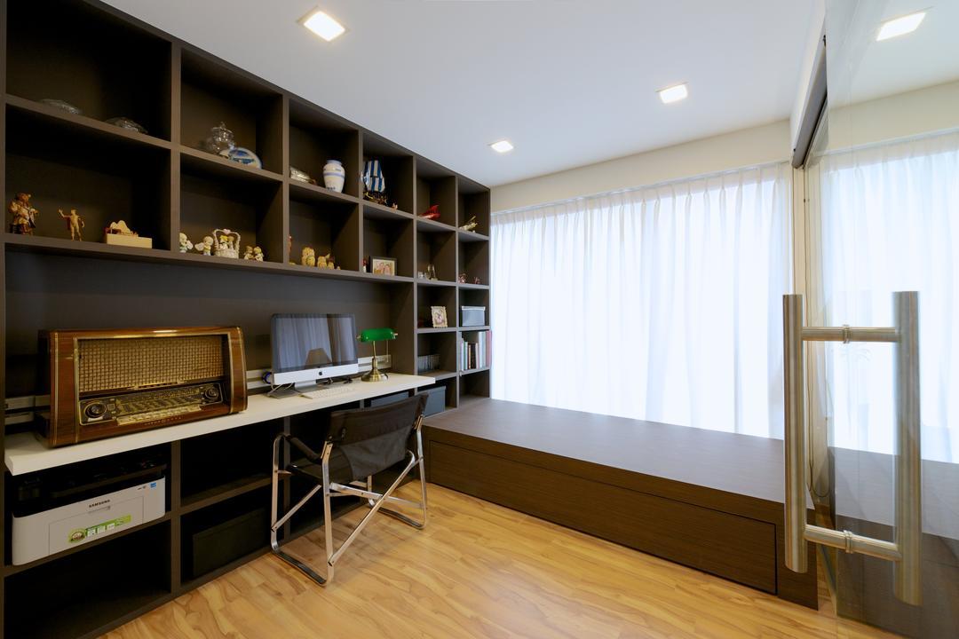 Bedok Reservoir Crescent (Block 747C), Dyel Design, Modern, Study, HDB, White Curtain, Wood, Open Shelf, Shelf, Indoors, Interior Design