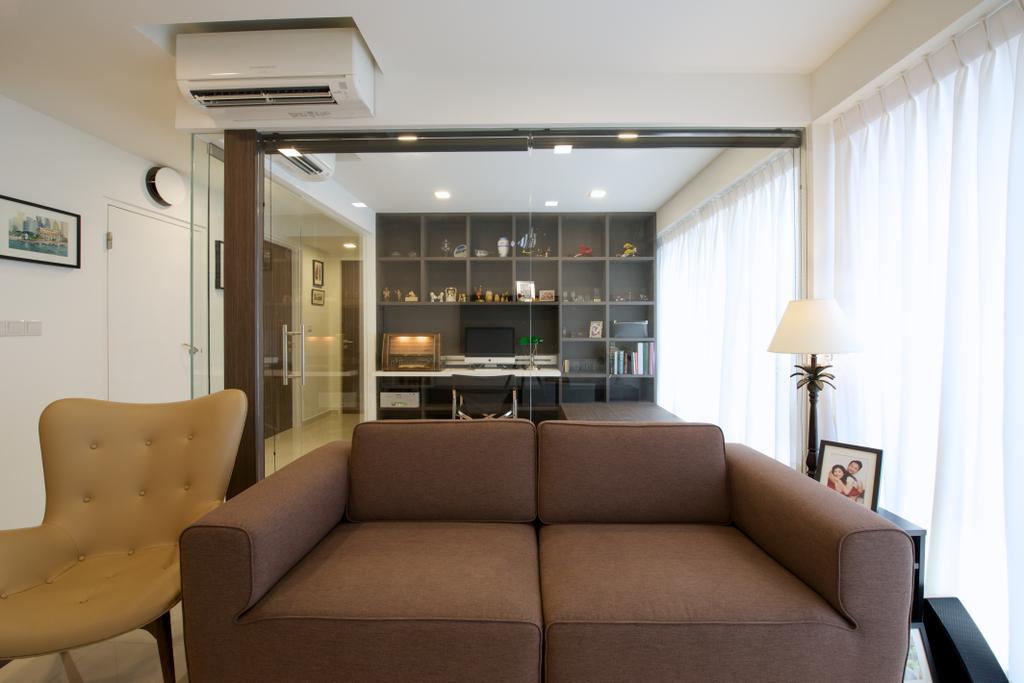 Modern, HDB, Living Room, Bedok Reservoir Crescent (Block 747C), Interior Designer, Dyel Design, Brown Sofa, Glass Walls, Armchair, Chair, Furniture, Couch, Indoors, Interior Design, Room