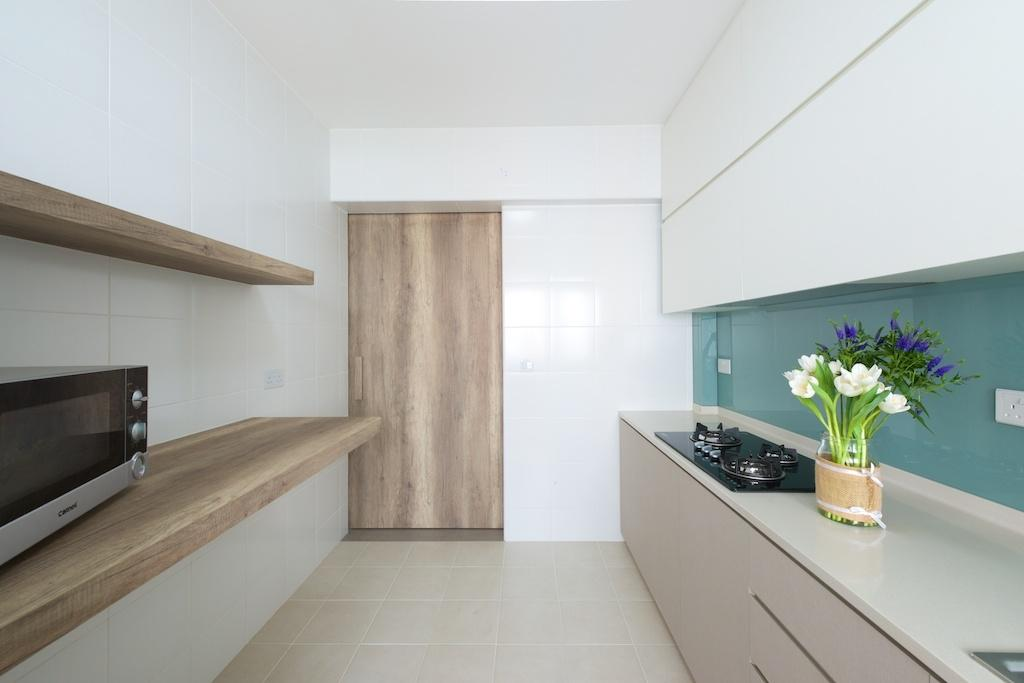 Minimalistic, HDB, Kitchen, Pasir Ris Street 51 (Block 524C), Interior Designer, Dyel Design, Wooden Door, Wooden Shelf, Wall Mounted Shelf, White Cabinets, Appliance, Electrical Device, Microwave, Oven