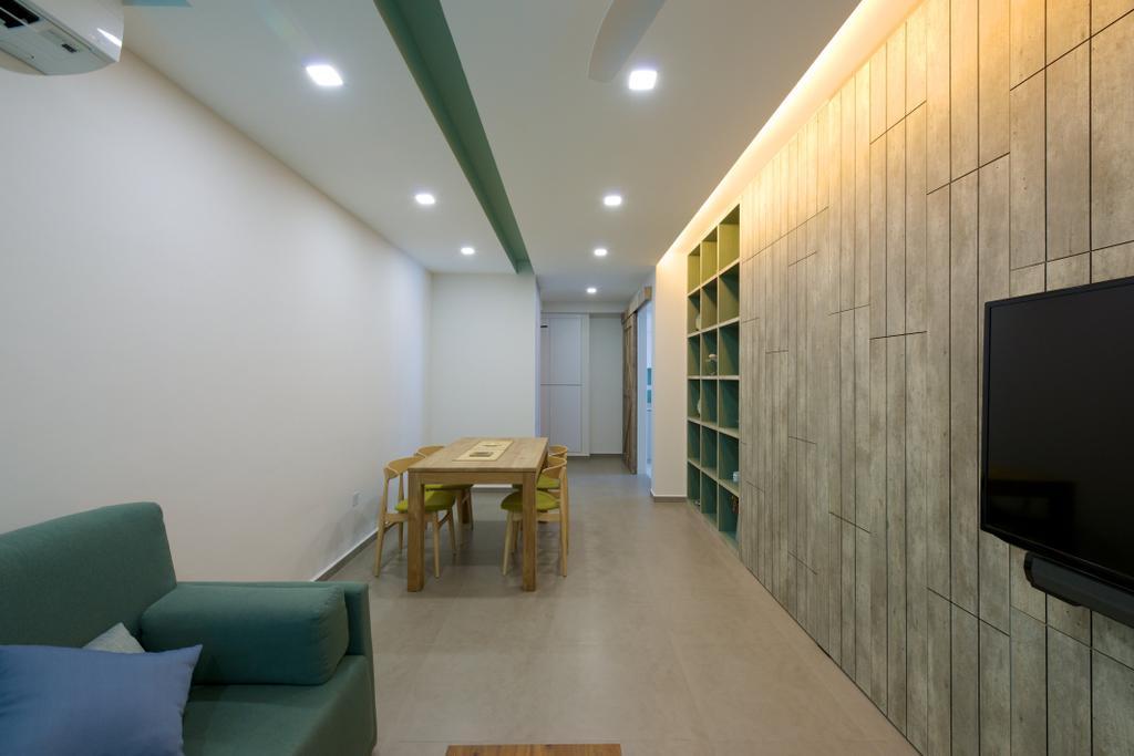 Minimalistic, HDB, Living Room, Pasir Ris Street 51 (Block 524C), Interior Designer, Dyel Design, Concealed Lighting, Wooden, Green Sofa, Flatscreen Tv, Wooden Wall, Chair, Furniture, Table, Dining Table, Indoors, Interior Design, Flooring