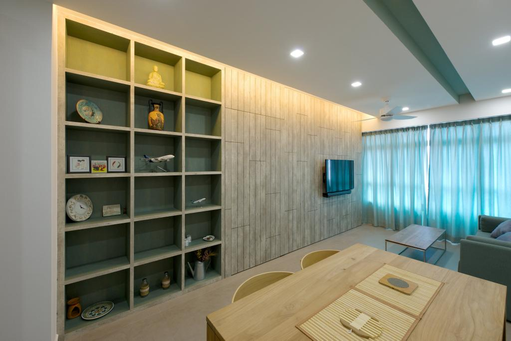 Minimalistic, HDB, Dining Room, Pasir Ris Street 51 (Block 524C), Interior Designer, Dyel Design, Open Shelf, Concealed Lighting, Wooden Table, Wooden Dining Set, Dining Chairs, Plywood, Wood, Bookcase, Furniture, Shelf