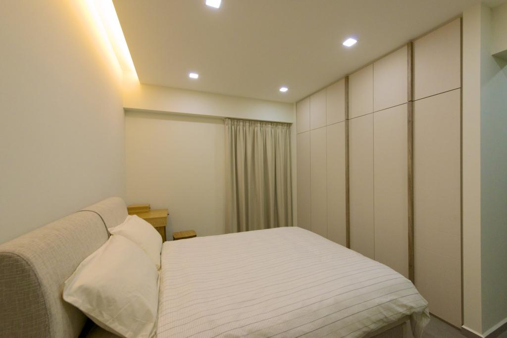Minimalistic, HDB, Bedroom, Pasir Ris Street 51 (Block 524C), Interior Designer, Dyel Design, Concealed Lighting, White, Bed, Furniture, Indoors, Interior Design, Room