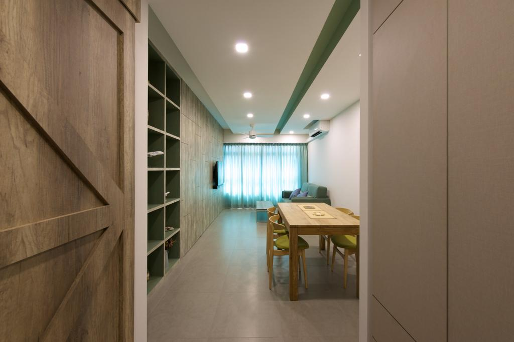 Minimalistic, HDB, Dining Room, Pasir Ris Street 51 (Block 524C), Interior Designer, Dyel Design, Wooden Table, Dining Table, Furniture, Table, Corridor