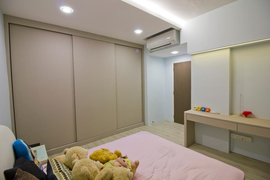 Modern, Condo, Bedroom, Hacienda Grove, Interior Designer, MET Interior, Air Condition, Sliding Wooden Wadrobe, Kids Room, Recessed Light, Hidden Interior Lighting, Pink Bed, Wooden Floor, HDB, Building, Housing, Indoors