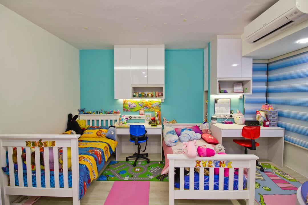 Hacienda Grove, MET Interior, Modern, Bedroom, Condo, Air Condition, Kids Room, Kids Bed, Colourful, Blue Walls, Colourful Mats, Mini Study Area, Low Back Study Chair, Crib, Furniture