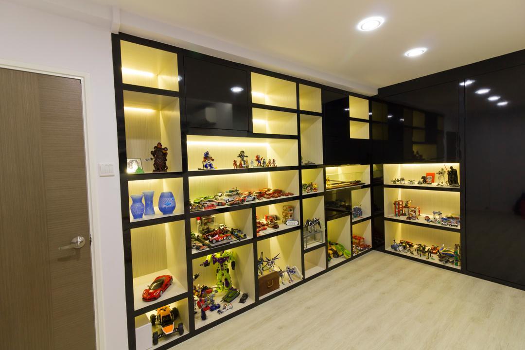 Hacienda Grove, MET Interior, Modern, Living Room, Condo, Shelves, Recessed Lights, Wooden Floor, Hidden Interior Lighting, Collectibles, Display Case, Toy Display