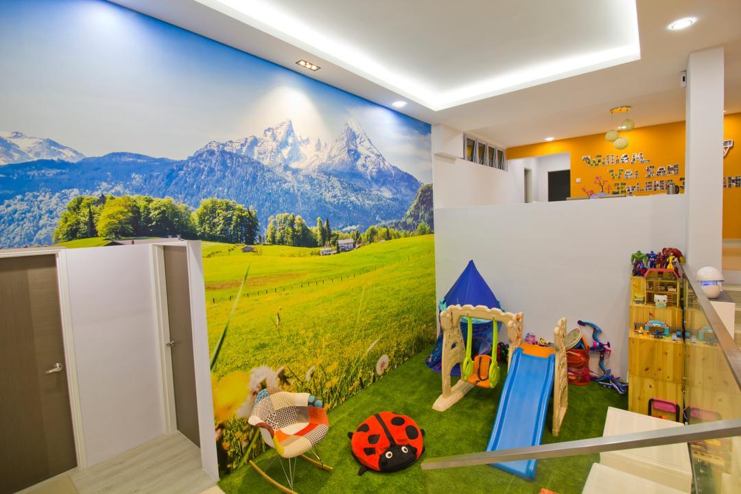 Hacienda Grove, MET Interior, Modern, Living Room, Condo, Kids Room, Mini Playroom, Hidden Interior Lighting, , Inflatable, Slide, Toy, Light Fixture