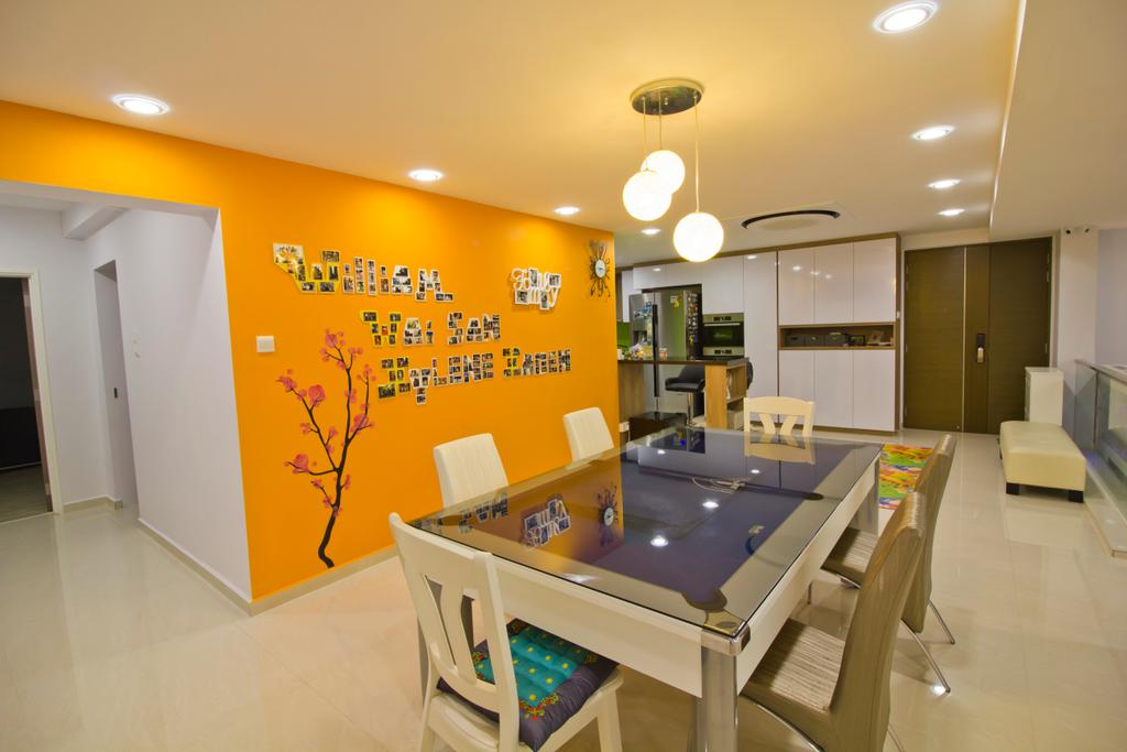 Modern, Condo, Dining Room, Hacienda Grove, Interior Designer, MET Interior, Hanging Lights, Recessed Lights, Dining Table, Dining Chair, Orange Walls, Sink, Desk, Furniture, Table, Basement, Indoors, Room
