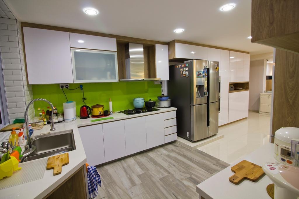 Modern, Condo, Kitchen, Hacienda Grove, Interior Designer, MET Interior, Wooden Floor, Recessed Lights, Fridge, Wall Mounted Cabinet, HDB, Building, Housing, Indoors, Sink