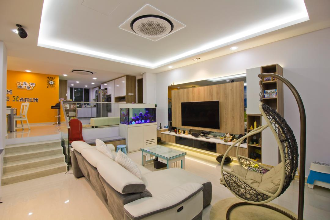 Hacienda Grove, MET Interior, Modern, Living Room, Condo, Stairs, Platform, Cozy, Cosy, Spacious, Wall Mounted Television, Floating Console, Hidden Interior Lighting, Recessed Lights, Sofa, Hanging Mammock, Classy, Banister, Handrail, Staircase, Couch, Furniture, Indoors, Interior Design