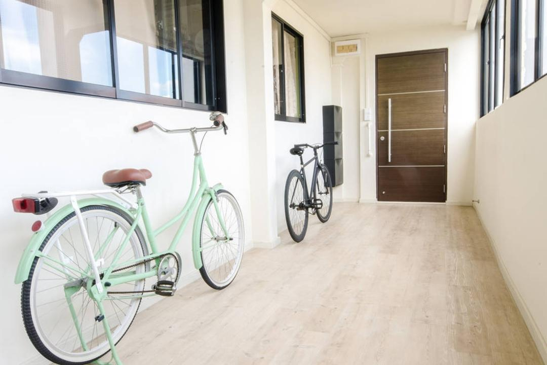 Woodlands (Block 850), MET Interior, Modern, Scandinavian, Balcony, HDB, Bicycle, Bike, Transportation, Vehicle, Tricycle, Mountain Bike, Floor