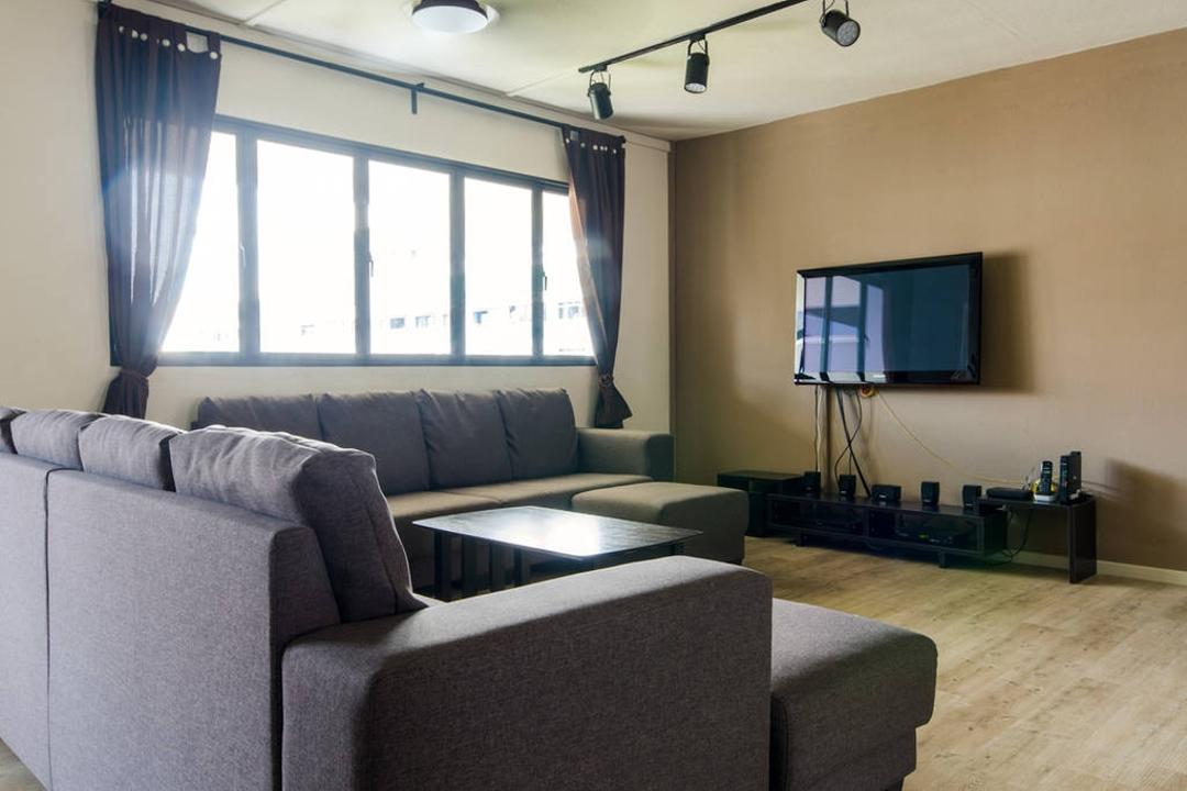 Woodlands (Block 850), MET Interior, Modern, Scandinavian, Living Room, HDB, Wooden Floor, , Sofa, Sling Curtain, Track Lights, Wall Mounted Television, Cozy, Cosy, Window, Bright, Couch, Furniture, Ottoman, Indoors, Room