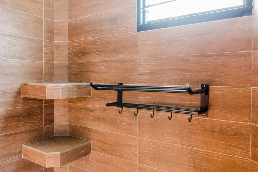 Modern, HDB, Bathroom, Woodlands (Block 850), Interior Designer, MET Interior, Scandinavian, Wooden Walls, , Hanger, Window, Wood Tiles In Shower, Wood In Shower, Hardwood, Wood