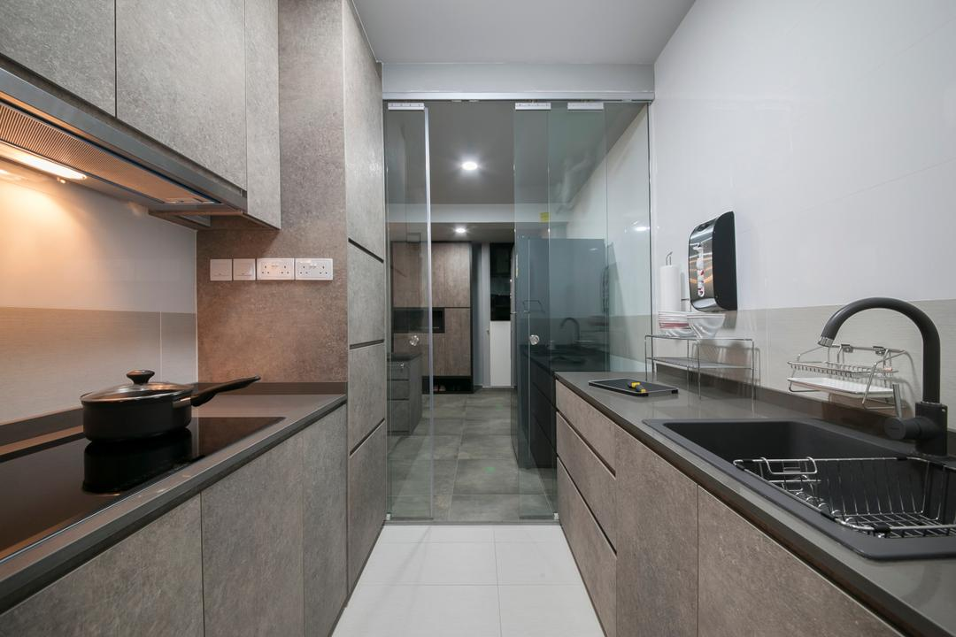 Trivista, Aart Boxx Interior, Modern, Industrial, Kitchen, HDB, Glass Door, , Wooden Kitchen Cabinet, Wooden Kitchen Cupboard, Modern Contemporary Kitchen, Wooden Laminated Top, White Wall, Sink, Indoors, Interior Design