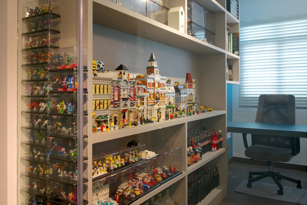 Pasir Ris Street 51 (Block 526A), Dyel Design, Scandinavian, Study, HDB, Open Shelf, Glass Doors, Toy Display, Study Desk, Study Chair, Office Chair, Chair, Furniture, Pantry, Shelf