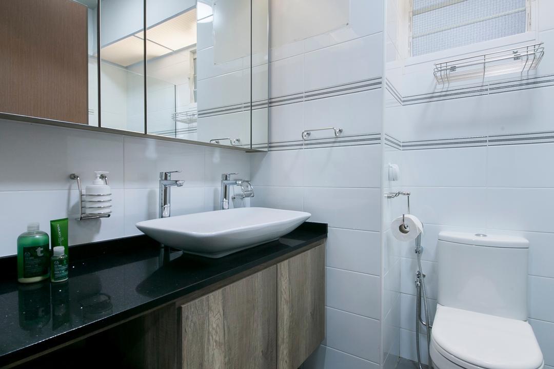 Trivista, Aart Boxx Interior, Modern, Industrial, Bathroom, HDB, Modern Contemporary Bathroom, Ceramic Floor, Wooden Cabinet, Sink Countertop, Protruding Sink, Ceiling Fan